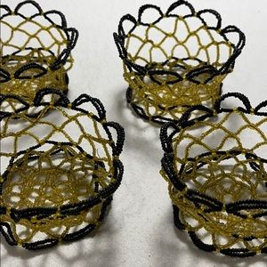 4 Vintage Beaded Baskets, Brown and Yellow/Gold
